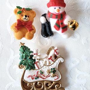 Jewelry - Christmas Brooch Pin Lot Teddy Sleigh Snowman